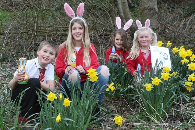 Rose and Arthur Rigley and Poppy and Dylan Shaw getting ready to try the Hayfield School PTA's Easter Trail