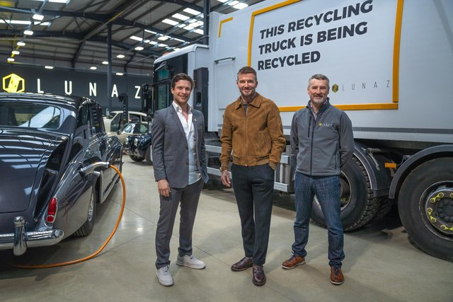 David Beckham with Lunaz founders David Lorenz and Jon Hilton