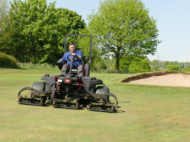 Steve Norton, Head Greenkeeper, and staff havebeen working hard to get the course ready.