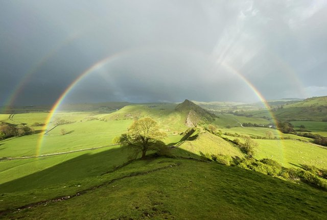 Lee Howdle captured this double rainbow while at Dragon's Back in the Peak District on Wednesday.