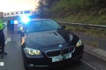 The black BMW was pulled over on the M1 in Derbyshire