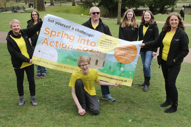 Chris Theyer and some of the foundation's supporters launch their new Spring into Action campaign