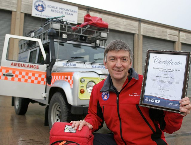 In 2008, Edale Mountain Rescue Team chairman Rob Small was pictured with a commendation the team received from South Yorkshire Police following floods in 2007.