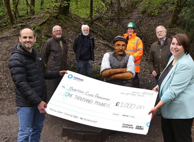 Alex Soria, Tarmac Tunstead Cement Plant manager hands over a cheque for £1,000 to Buxton Advertiser Editor Louise Cooper, watched by Buxton Civic Association representatives John White, John Phillips and Brian Shawcross, as well as Josie Shereston from Tarmac.