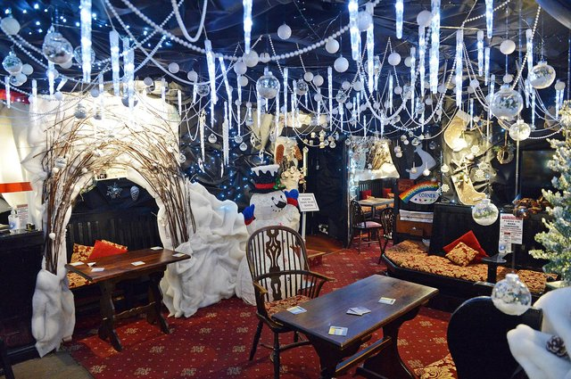 It took four members of staff three weeks to put up the70,000 lights and 5,000 baubles as well as giving different rooms different themes.