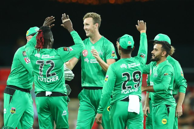 Billy Stanlake takes a wicket for the Melbourne Stars in the Big Bash League. (Photo by Chris Hyde/Getty Images)