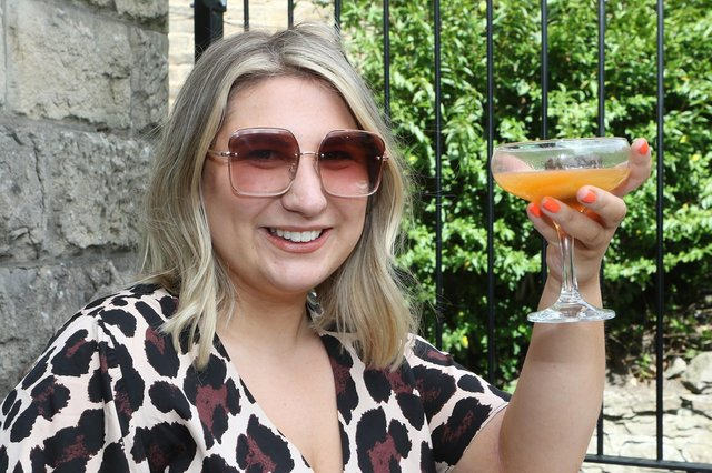 Lizzie Kelly enjoys a tipple at the Arches