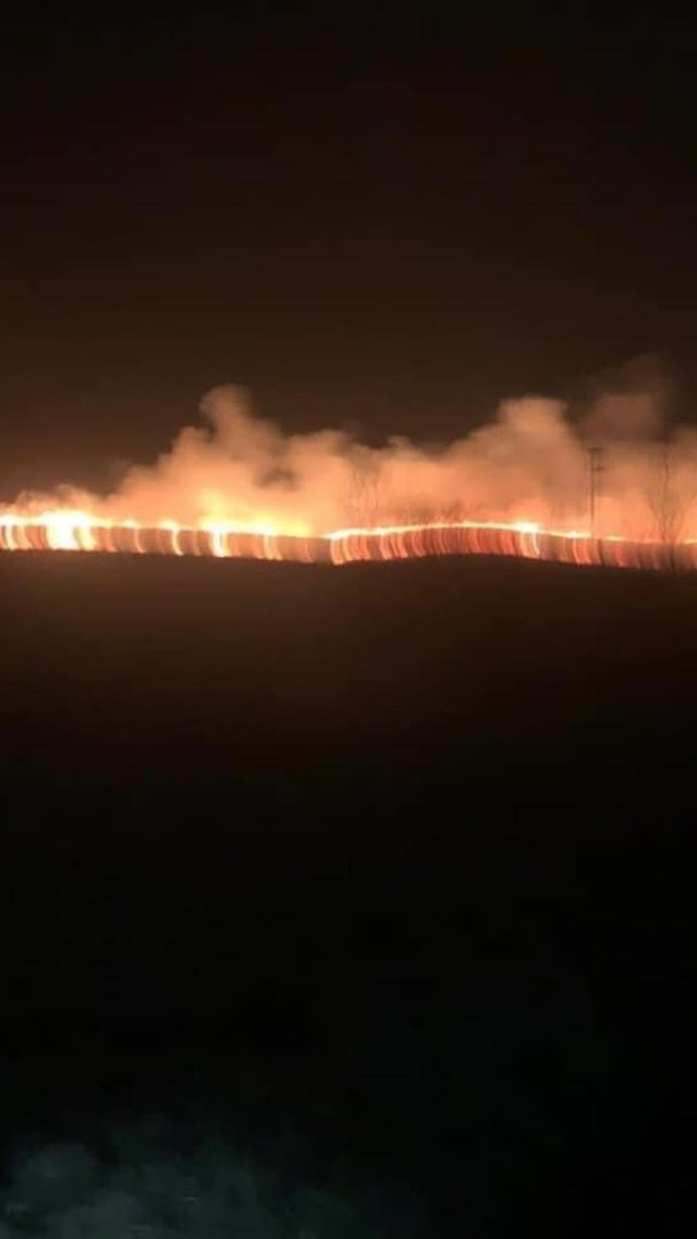 Firefighters were called to the second moorland blaze in 24 hours on Wednesday night. Photo - Derbyshire Fire and Rescue Service