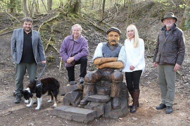 """Simon Fussell, Peter Phillipson, Lucy Marsden and Jon White of the BCA with the restored statue of """"Jack"""""""