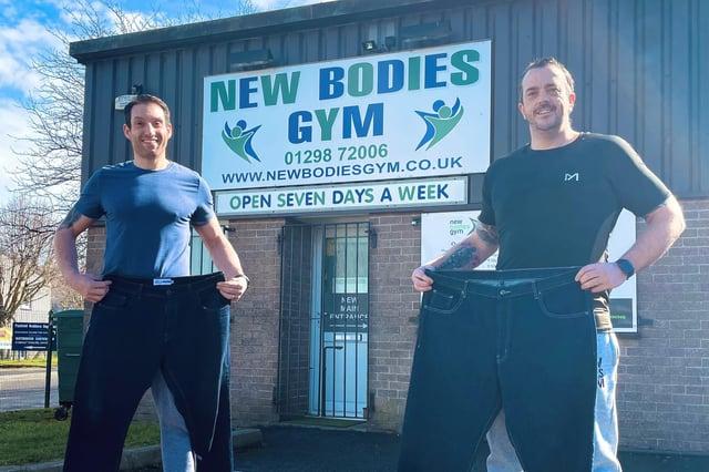 Mark Allard, left, and Scott Bickerton have slimmed down with help from Sarah Ridgeway at New Bodies Gym.