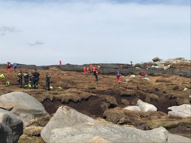 Firefighters at the scene on Kinder Scout