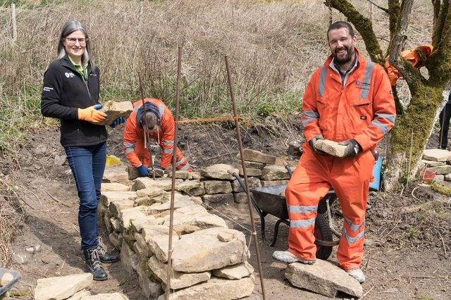 Peak District National Park chief executive Sarah Fowler with Tarmac Tunstead's stone and powders director Pete Butterworth.