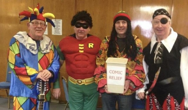 Prior to the Covid pandemic, members of Alfreton Male Voice Choir would don fancy dress to collect money in Alfreton on the Saturday near Red Nose Day. Pictured are: chief busker Mick Mullarkey, John Tate, Peter Singleton and Brian Thornton, left to right.