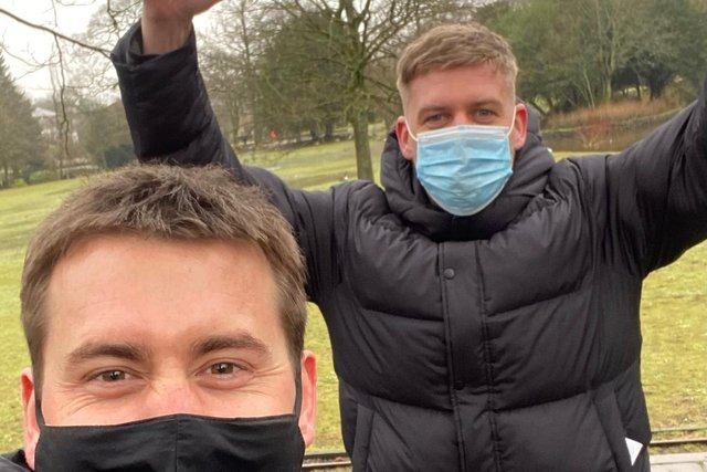 Best pals George Darbyshire, left, and Jake Burnham in Pavilion Gardens after health and safety chiefs signed-off the event