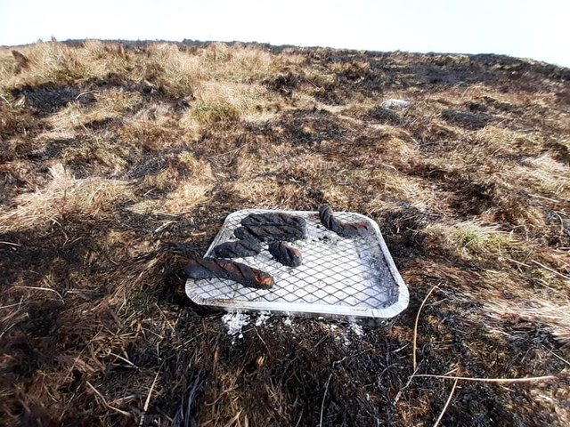 Mountain Rescuers helping with a large moorland fire at Rushup Edge found a barbecue at the scene.