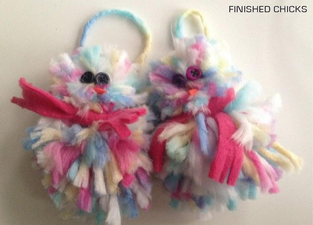 Make these colourful chicks to hang up in your home over Easter.