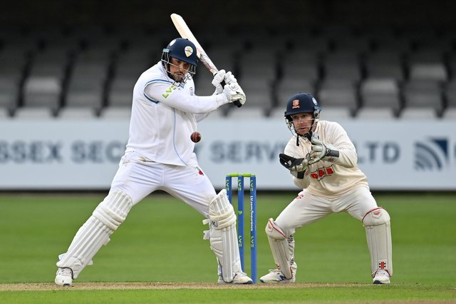 Billy Godleman of Derbyshire plays a shot during the LV= Insurance County Championship match between Essex and Derbyshire at Cloudfm County Ground in Chelmsford.  (Photo by Justin Setterfield/Getty Images)