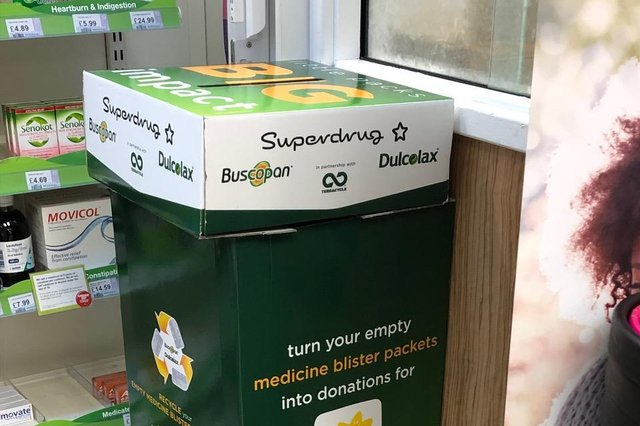 Buxton residents can now recycle medical blister packs using this bin at Superdrug.