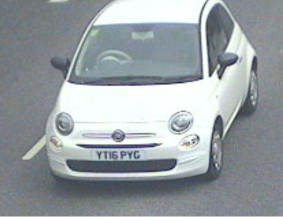 A white Fiat 500, registration YT16 PYG, was stolen during a burglary at a property in Chapel-en-le-Frith