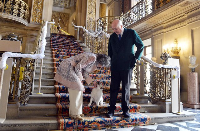 Chatsworth House reopening with the Duke and Duchess of Devonshire. In the painted hall.