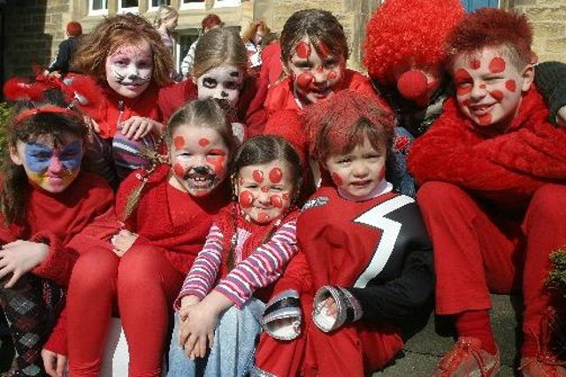 Children of Pilsley Primary School all dressed up for Red Nose Day in 2007. Spot anyone you know?