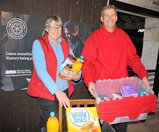 Some of the Whaley Bridge foodbank volunteers sorting out donations