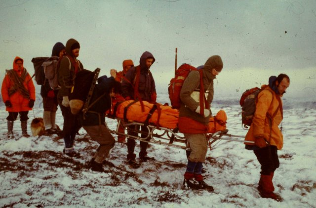 One of the first pictures of Kinder Mountain Rescue Team taken in the 1970s